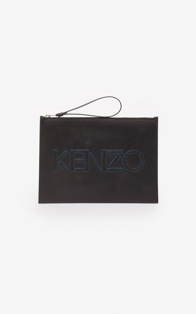 BLACK KENZO Kontrast A4 clutch for unisex