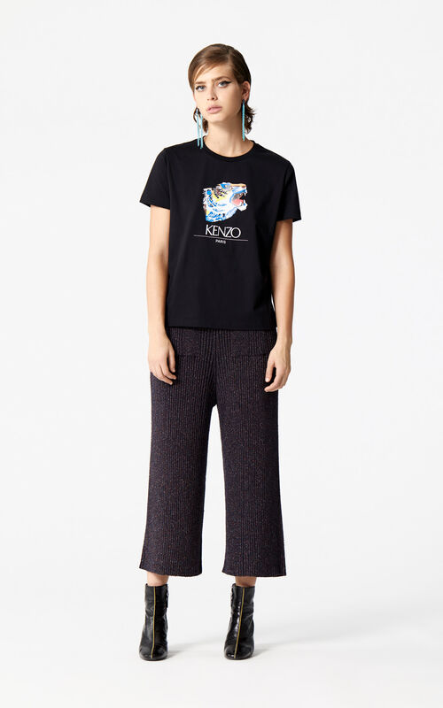 BLACK 'Tiger Head' T-Shirt 'Go Tigers Capsule' for women KENZO