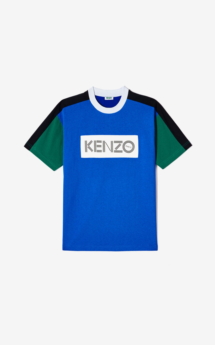 FRENCH BLUE KENZO logo colorblock T-shirt for women