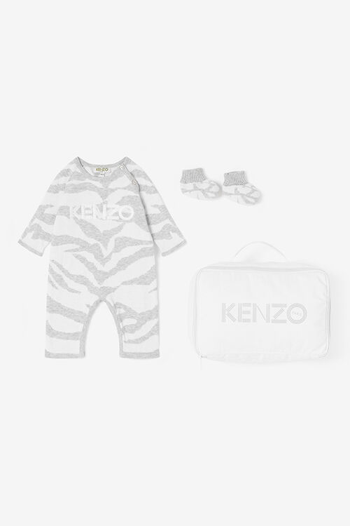 PALE GREY Tiger Stripes Babygrow for women KENZO