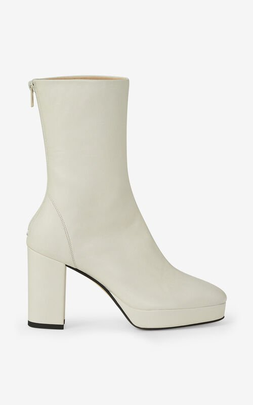 ECRU KENZO GLOVE leather platform ankle boots for unisex