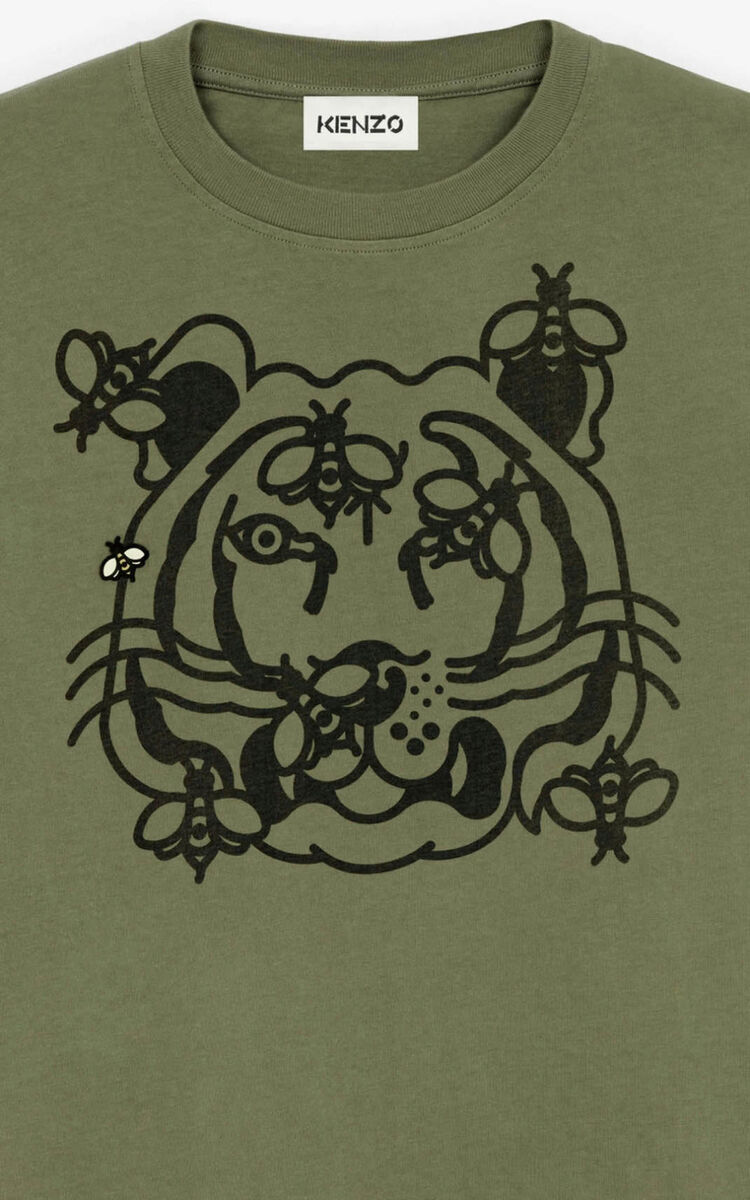 PALE KHAKI 'Bee a Tiger' oversize T-shirt     for women KENZO