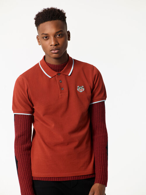 DEEP ORANGE Tiger Polo Shirt for men KENZO