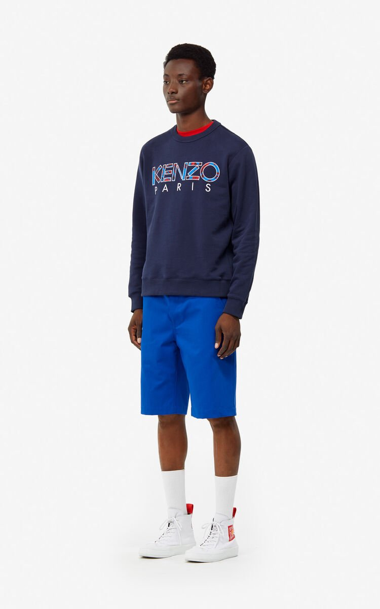FRENCH BLUE 'Square logo' shorts for men KENZO