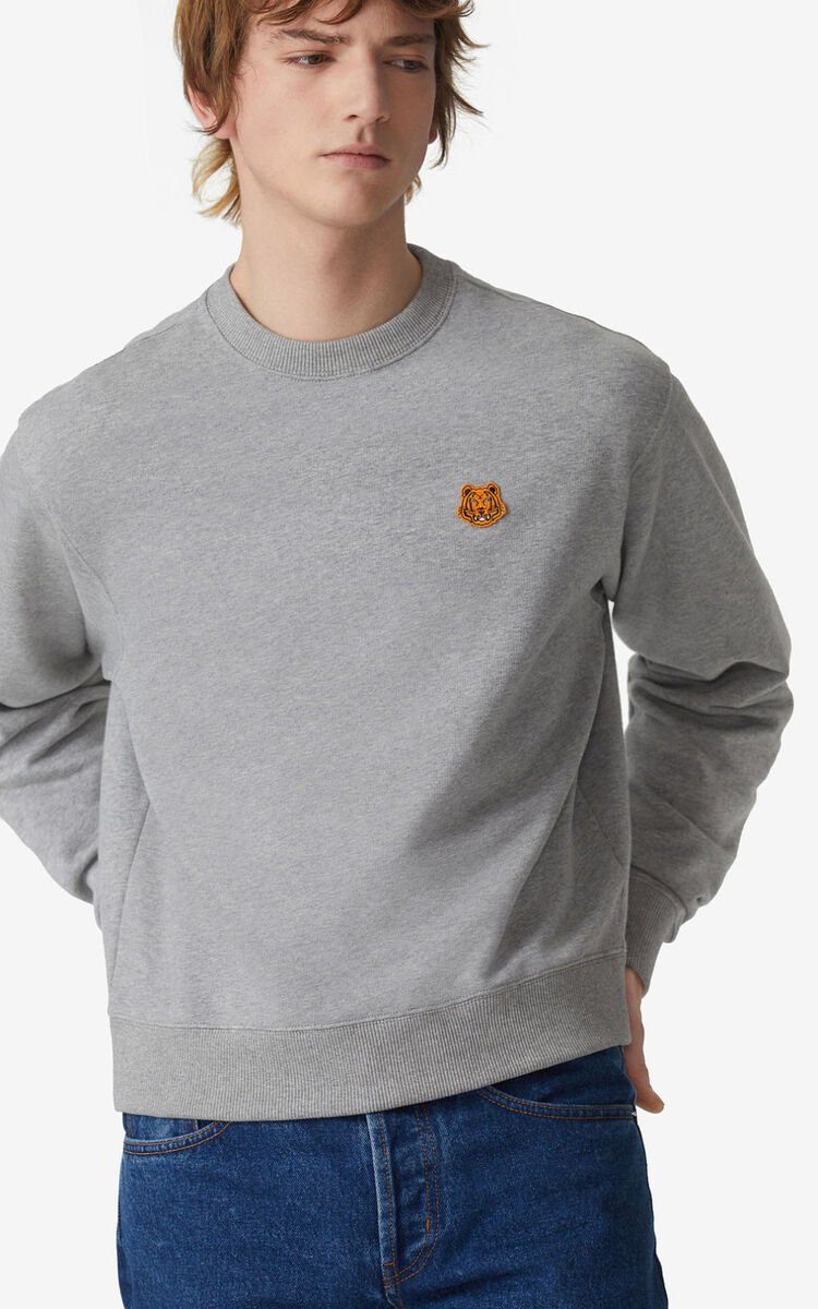 PEARL GREY Tiger Crest sweatshirt for men KENZO