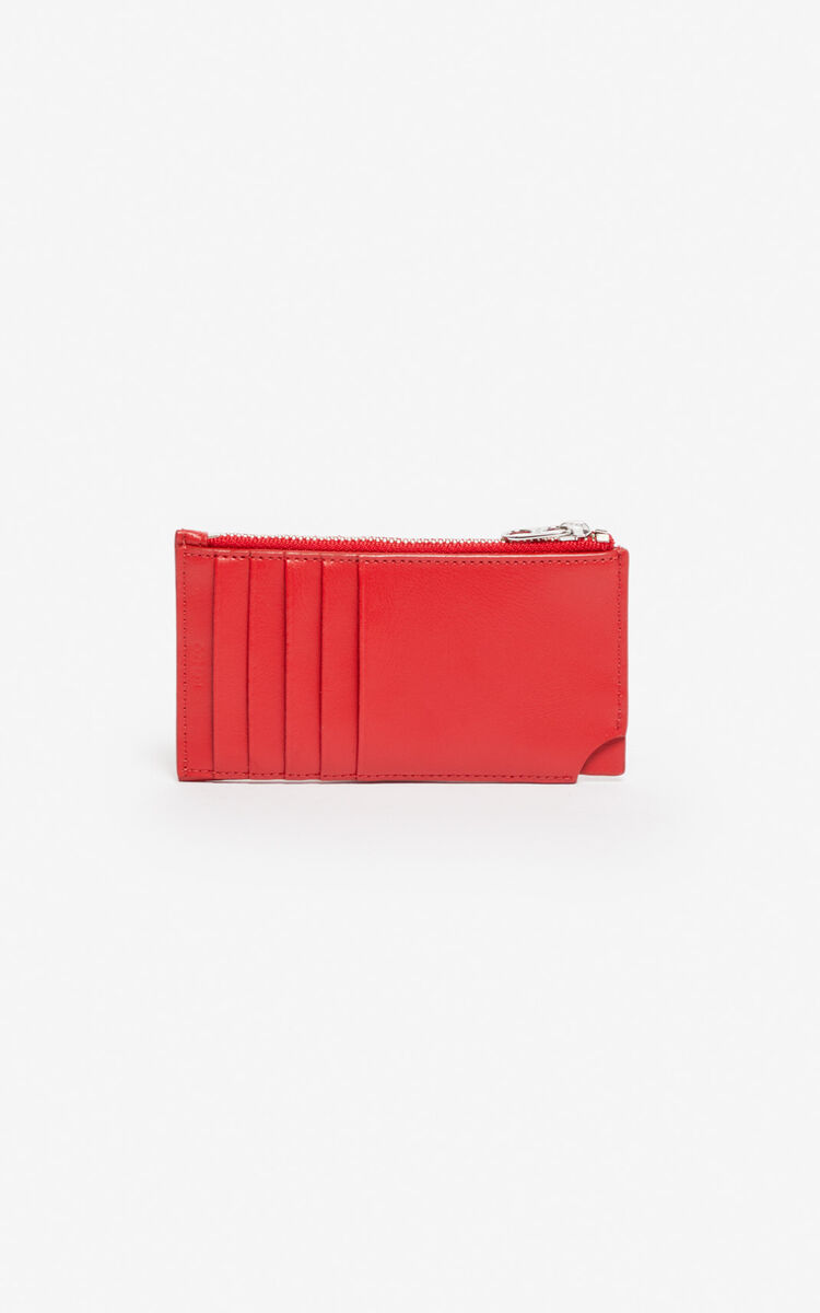 MEDIUM RED 'Jumping Tiger' Zipped leather card holder for unisex KENZO