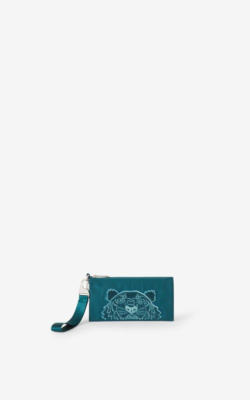 DUCK BLUE Kampus Tiger canvas wallet for men KENZO