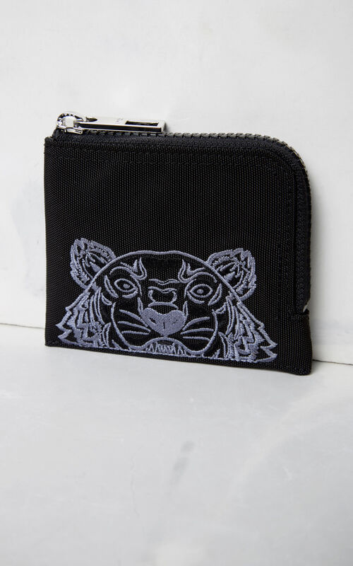 BLACK Zipped Tiger wallet for unisex KENZO