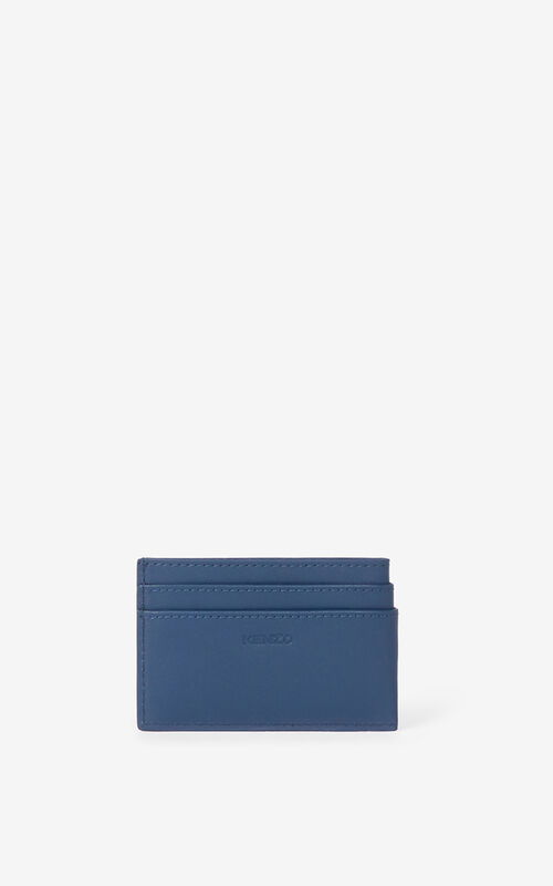 MIDNIGHT BLUE Tiger Crest leather card holder  for unisex KENZO