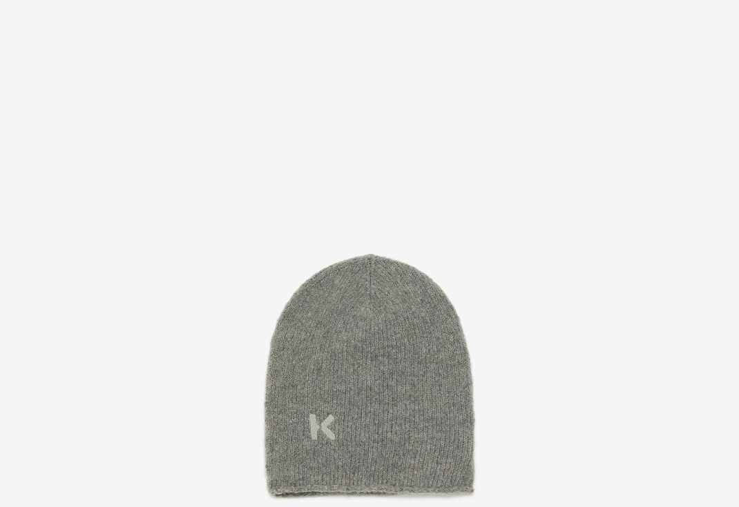 DOVE GREY K Logo wool and cashmere beanie for unisex KENZO