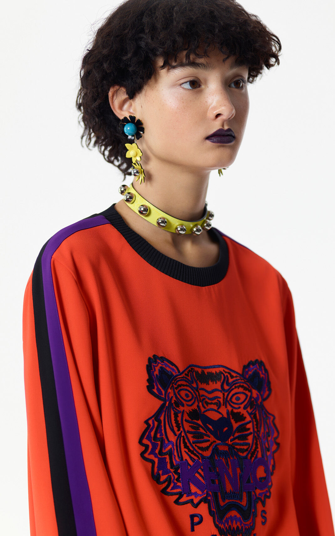 MEDIUM RED Crepe colorblock Tiger top for women KENZO