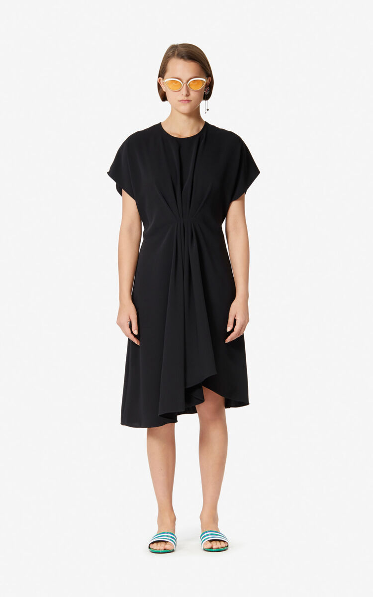 BLACK Asymmetric dress with draped effect for women KENZO