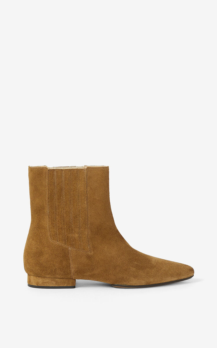 DARK CAMEL K-Line Soft suede ankle boots for unisex KENZO