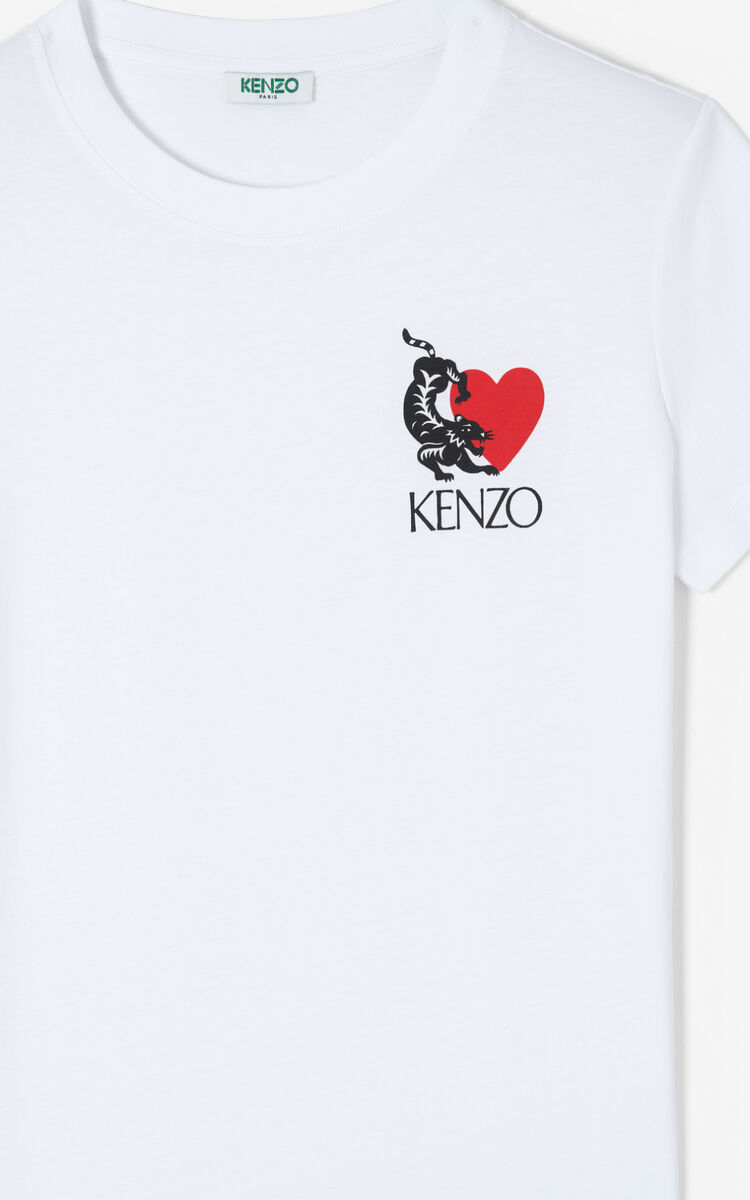 WHITE 'Lucky Tiger' T-shirt for men KENZO