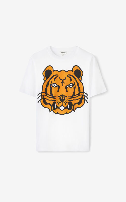WHITE K-Tiger oversized T-shirt for unisex KENZO