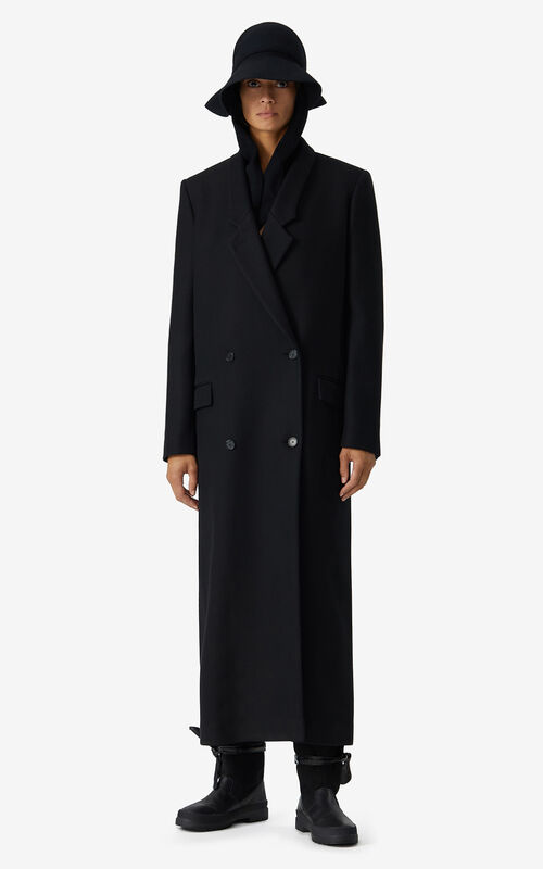 BLACK Long wool coat for women KENZO