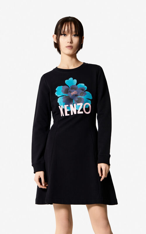 BLACK 'Indonesian Flower' dress for women KENZO