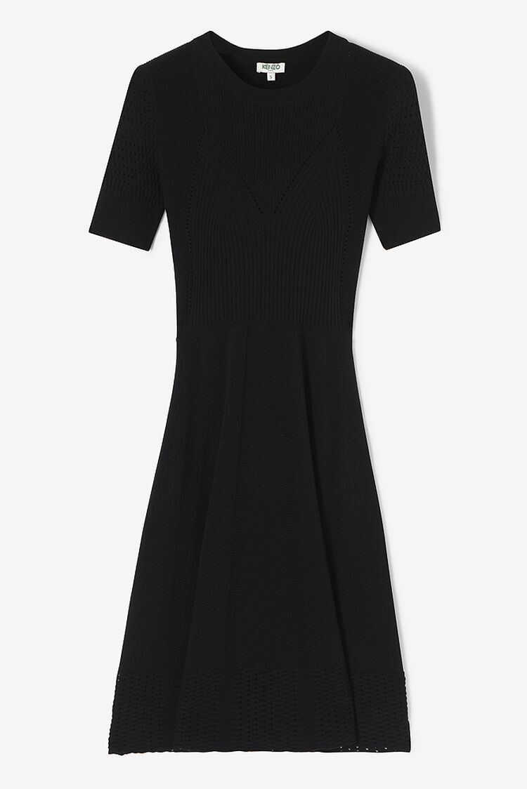 BLACK Fit and Flare Lace Hole Dress  for women KENZO