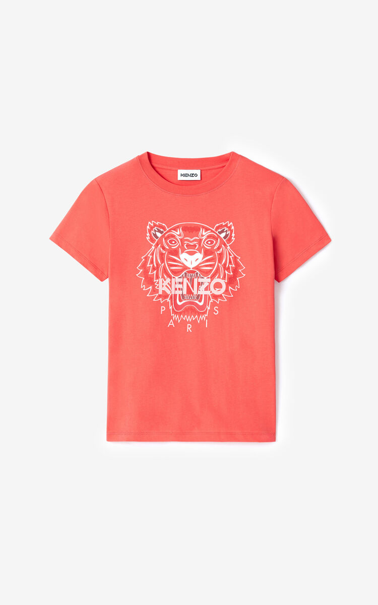 RED ORANGE Tiger t-shirt for women KENZO