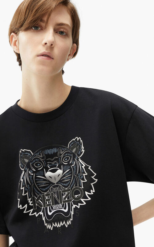 BLACK Oversize Tiger T-shirt for women KENZO