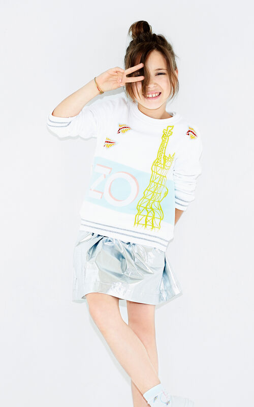 WHITE 'Paper Planes' sweatshirt for women KENZO