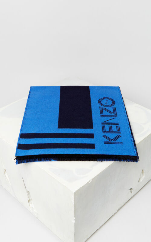 NAVY BLUE KENZO Logo wool scarf for unisex