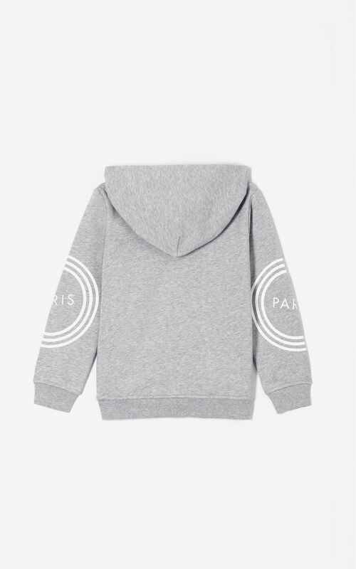 MIDDLE GREY KENZO Logo zipped sweatshirt for women