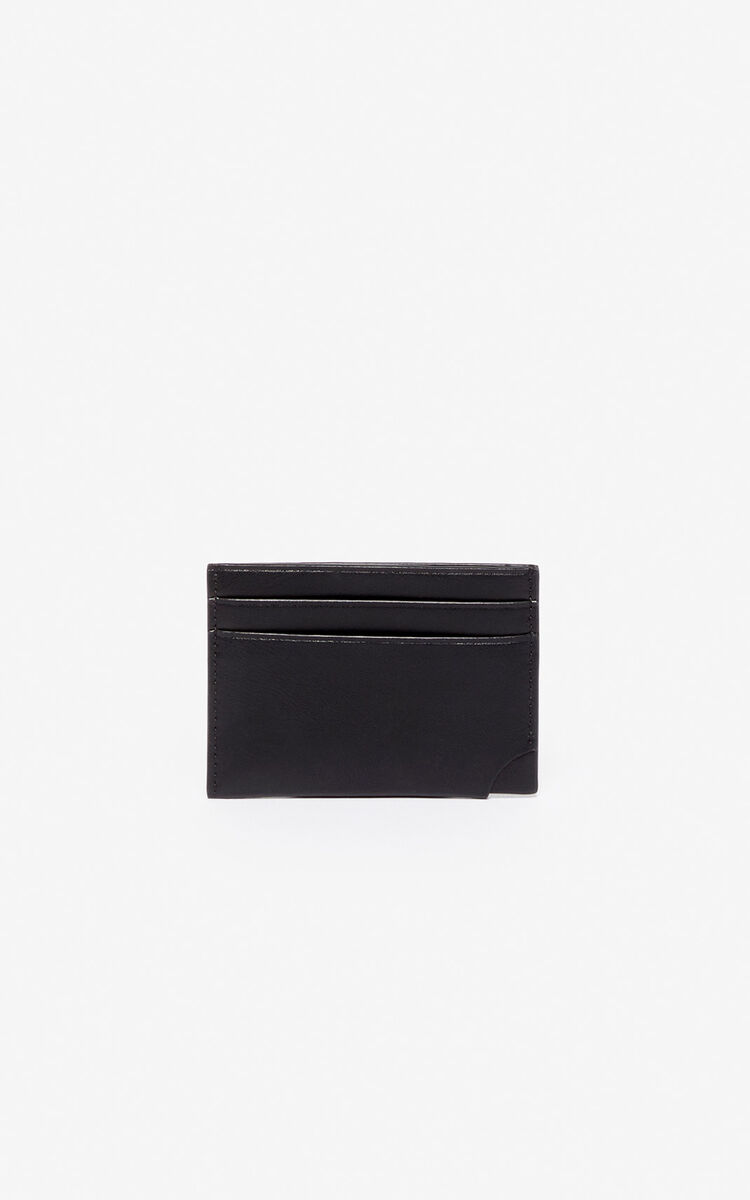BLACK 'Jumping Tiger' leather card holder for men KENZO