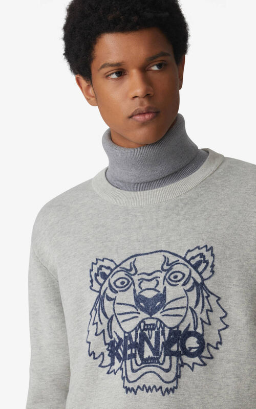 PEARL GREY Tiger jumper for men KENZO