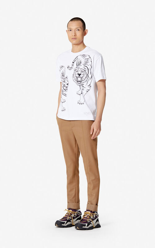 WHITE 'Double Tiger' T-shirt for men KENZO