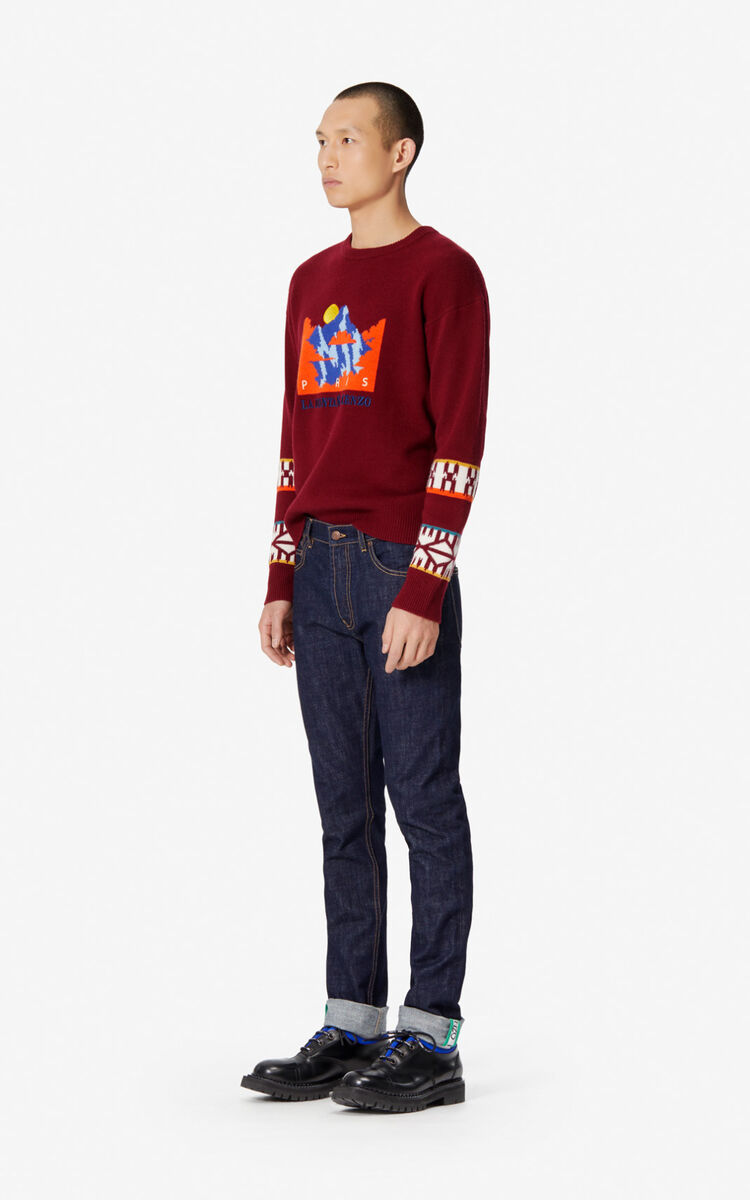 NAVY BLUE Turned-up slim-fit jeans for women KENZO