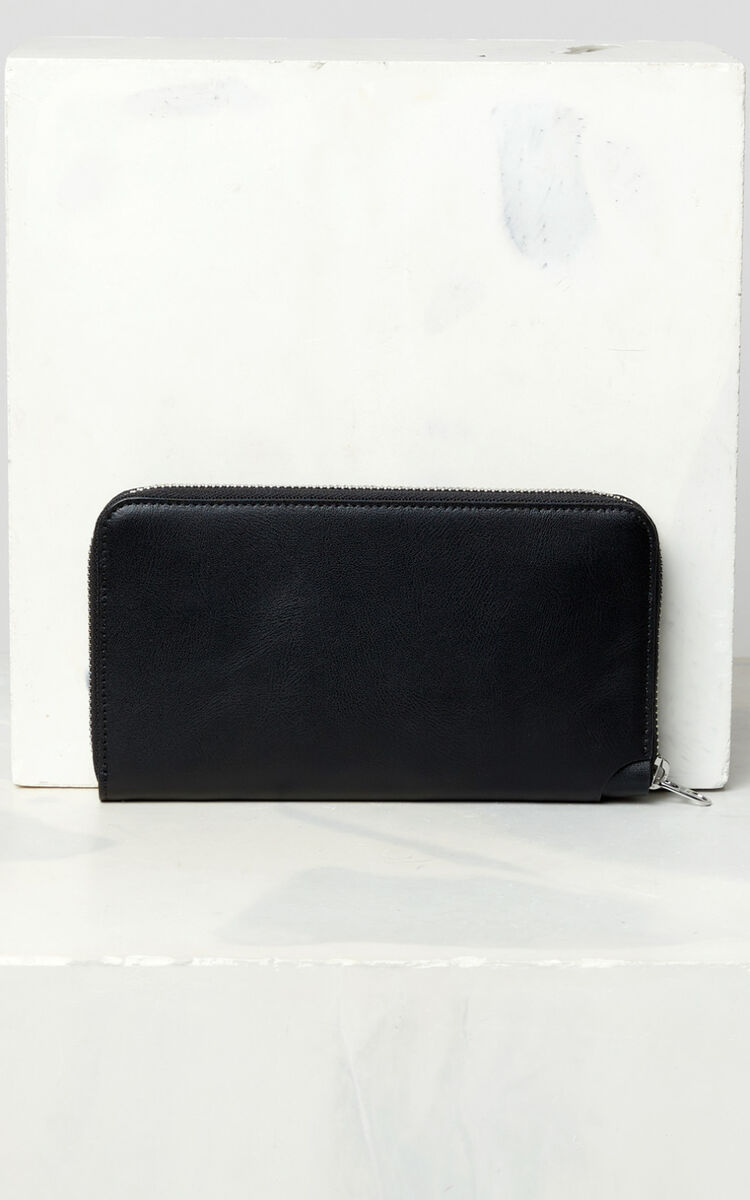 BLACK 'Jumping Tiger' leather wallet for men KENZO