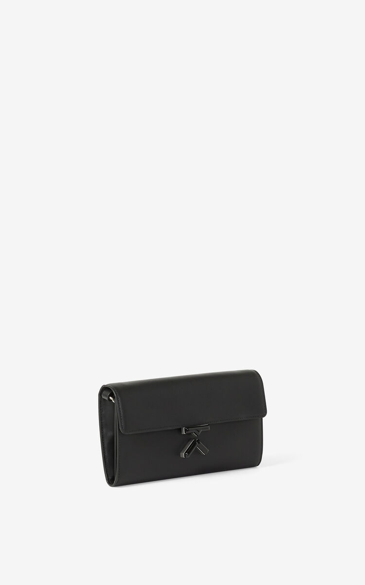 BLACK KENZO K leather wallet on a chain for unisex