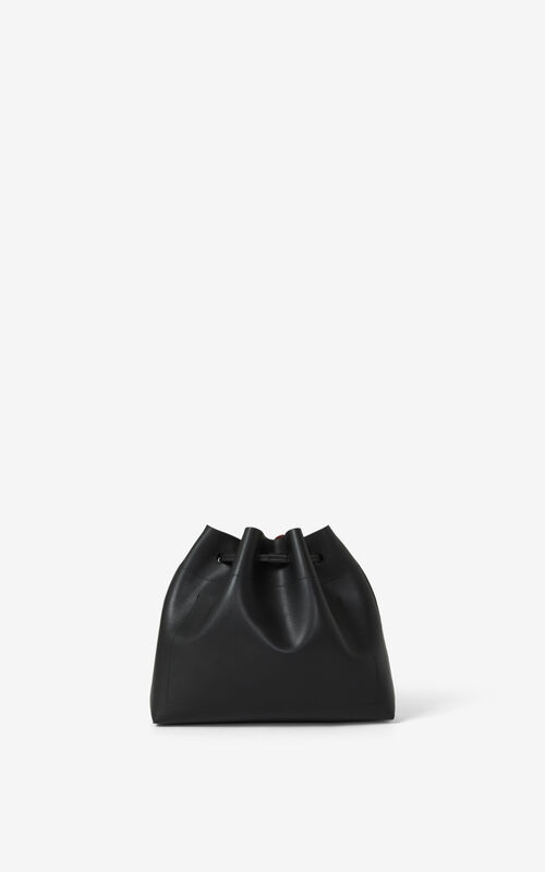 BLACK KENZO Cadet leather bucket bag for women