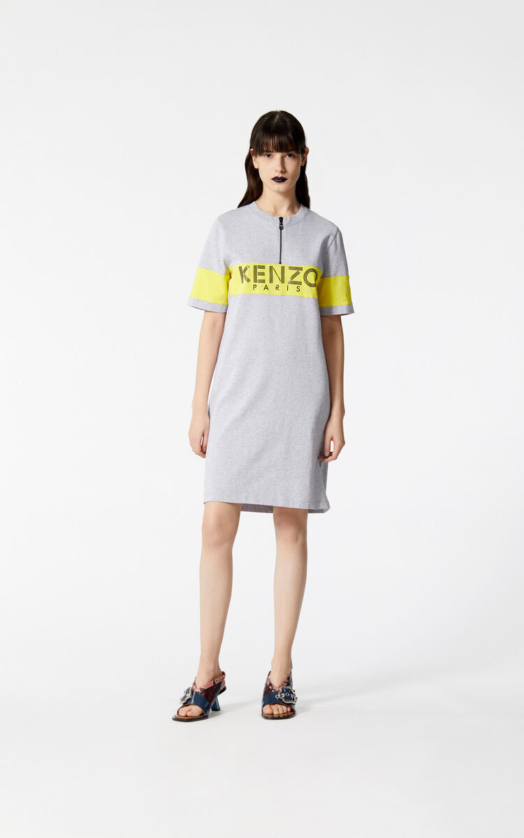 PALE GREY Two-tone KENZO Paris zip dress for women
