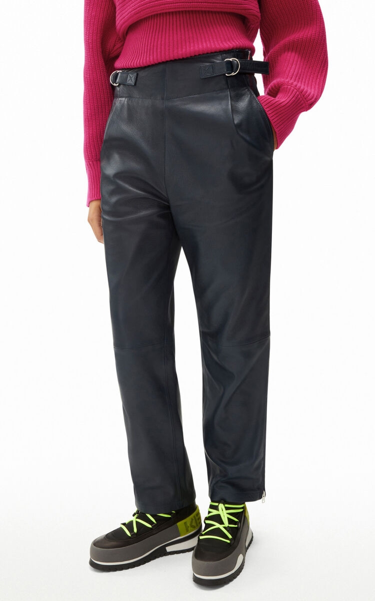 MIDNIGHT BLUE Smooth leather trousers for women KENZO