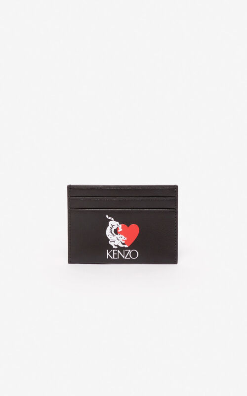 BLACK 'Valentine's Day Capsule' 'Lucky Tiger' leather cardholder for unisex KENZO