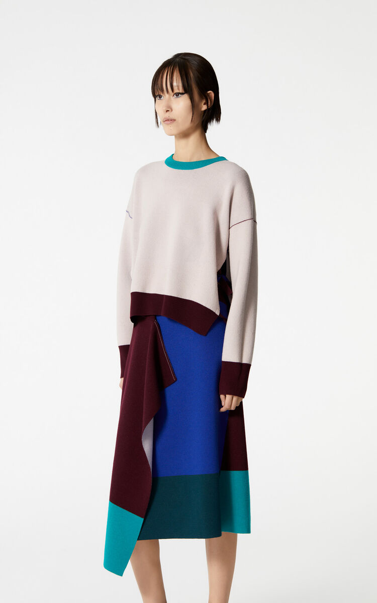 FRENCH BLUE Reversible cashmere colour block jumper for women KENZO