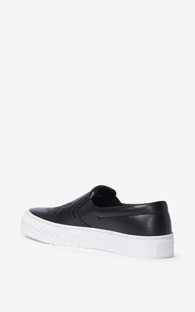 BLACK K-Skate leather sneakers without laces for women KENZO