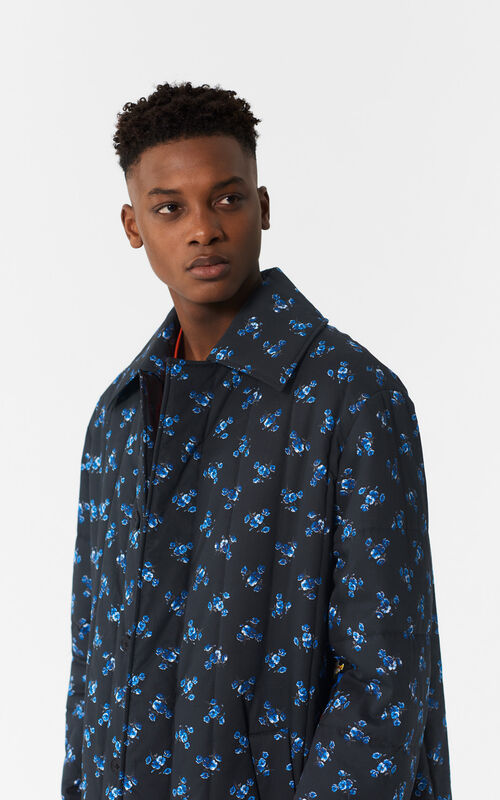 BLACK 'May Flowers' Long Coat for men KENZO