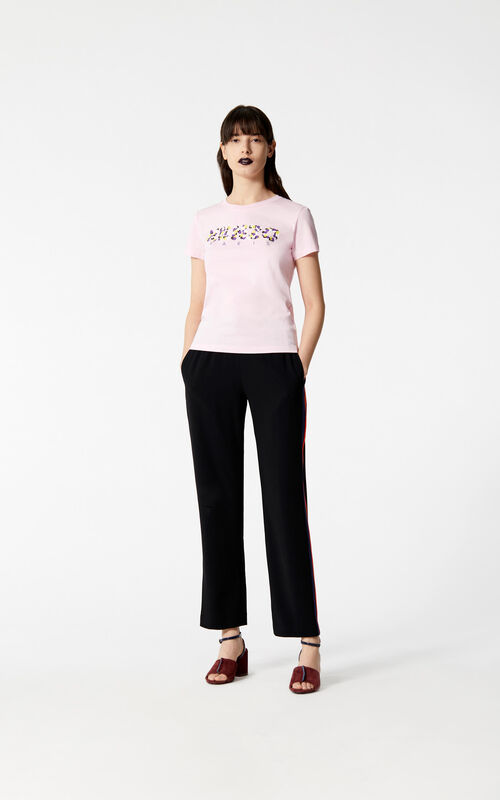 FLAMINGO PINK KENZO Paris 'Jackie Flowers' t-shirt for women