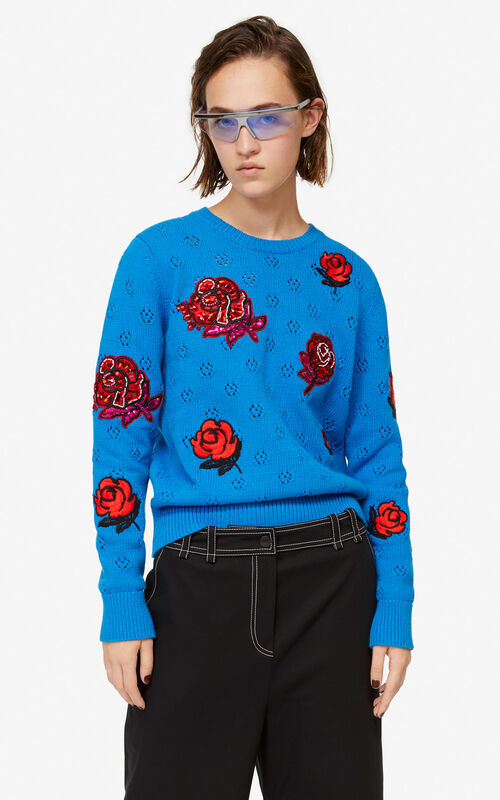 c3d797fc FRENCH BLUE Openwork 'Roses' jumper for women KENZO ...
