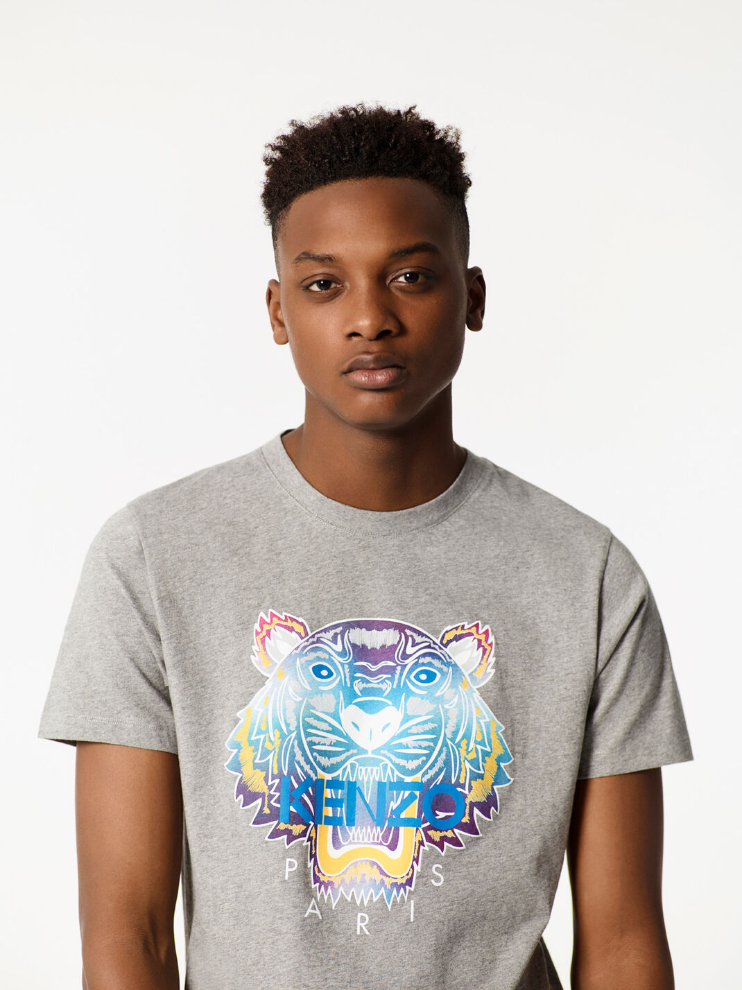 DOVE GREY Rainbow Tiger T-shirt for women KENZO