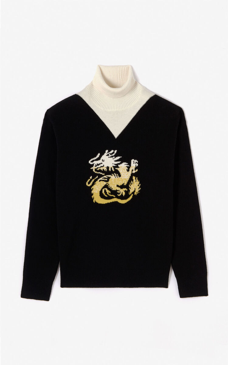 BLACK Dragon turtleneck jumper for men KENZO