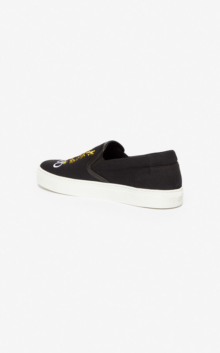 BLACK 'Dragon' slips-on for men KENZO