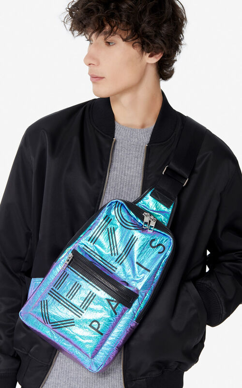 TURQUOISE 'Holiday Capsule' KENZO Logo crossbody bag for men