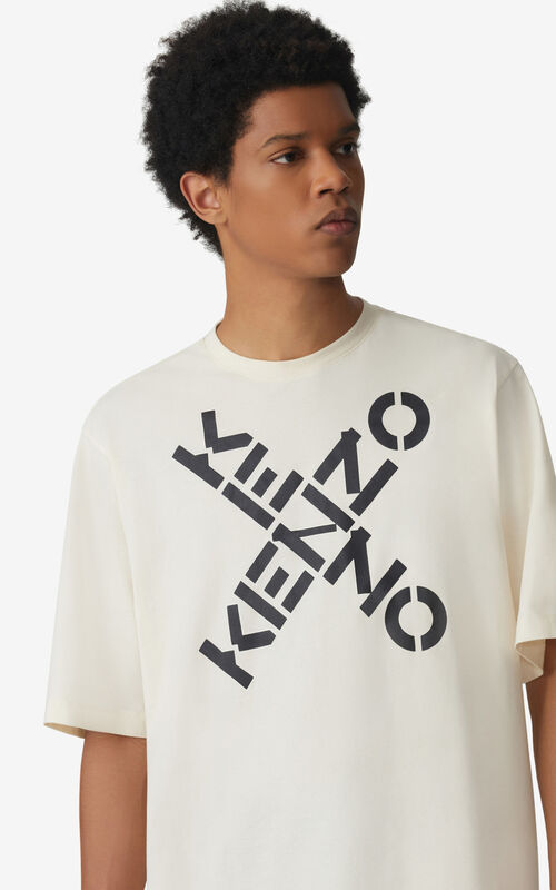CREAM KENZO Sport 'Big X' T-shirt for men