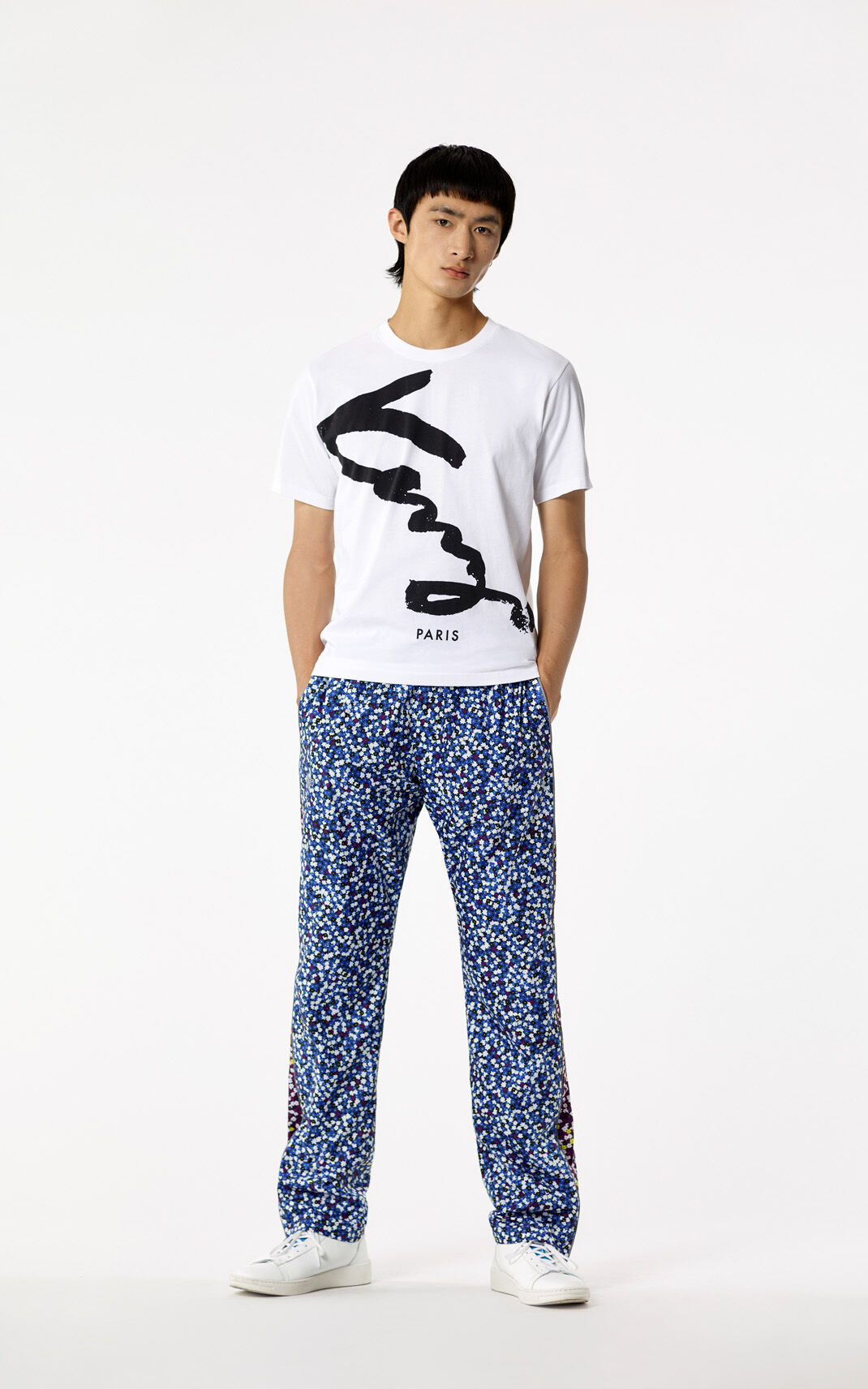 DEEP SEA BLUE 'Jackie Flowers' Relaxed Trousers for men KENZO