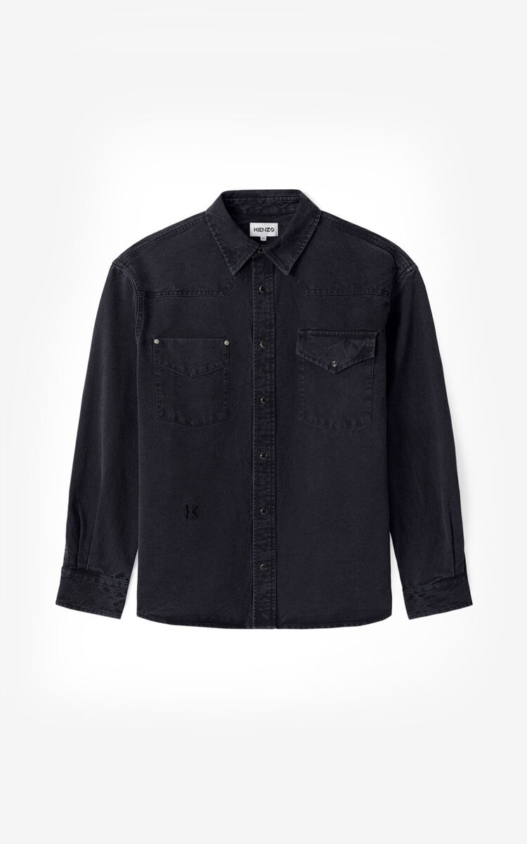 BLACK Denim shirt for men KENZO