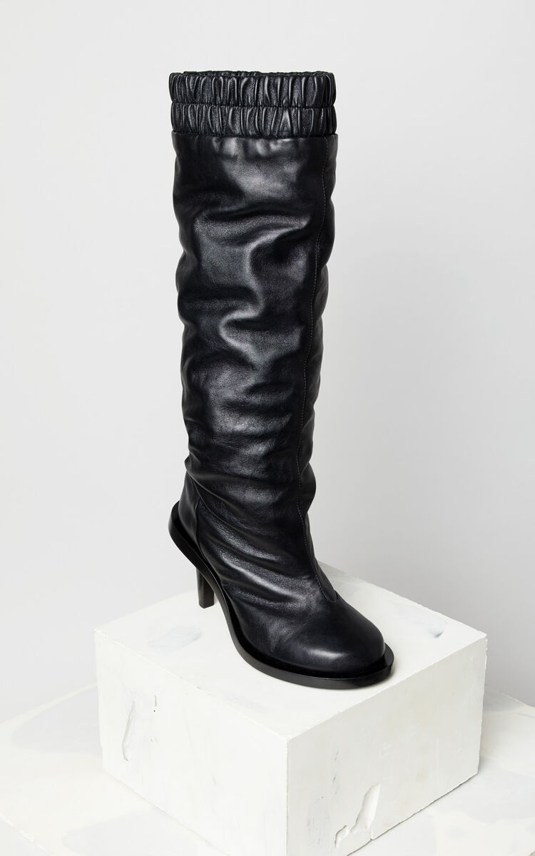 BLACK Leather heeled boots for women KENZO